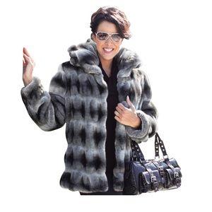 Jackets & Blazers - Grey and Black Chinchilla Faux Fur Coat
